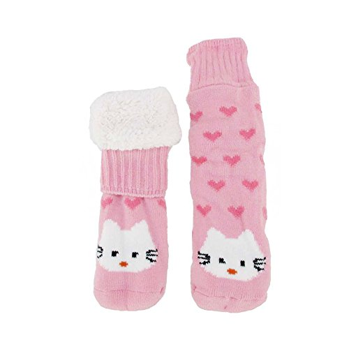 - Extra Thick Fuzzy Thermal Cabin Fleece-lined Knitted Non-skid Crew Sock, Hello Kitty - 1 Pair