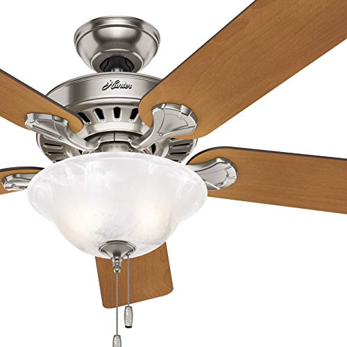 Hunter Fan 54 inch Traditional Architectural White Damp Ceiling Fan with Light Kit (Renewed)