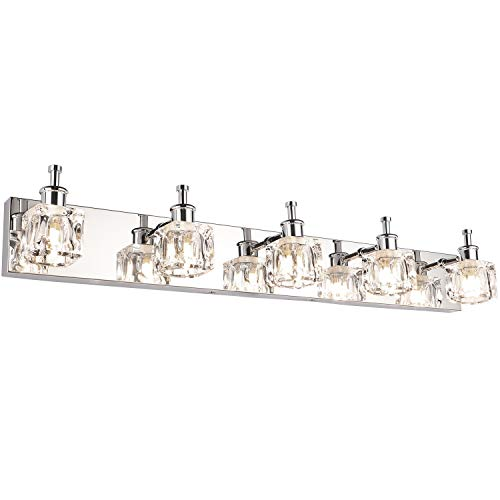 PRESDE Bathroom Vanity Light Fixtures Over Mirror Modern LED 5 Lights Glass Shade(Exclude Bulb)