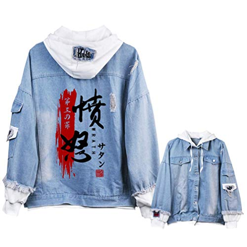 Jeans Di Cosstars Giacchetta Jacket Sins Ripped Blu Seven Giacca The Denim Cosplay Adulto 3 Hoodie Deadly Anime FwO6wq