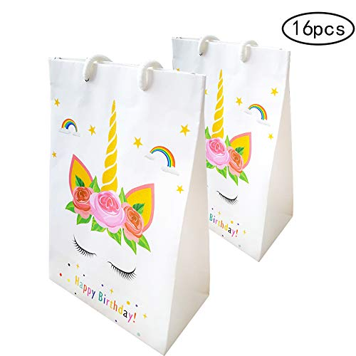 Unicorn Gift Bags Craft Paper Treat Bags for Kids Party Supplies Pack of 16Pack, Perfect for Kids Rainbow Unicorn Birthday Party Theme - Fill bags with Treats, Toys, Games or Supplies. by SRXING