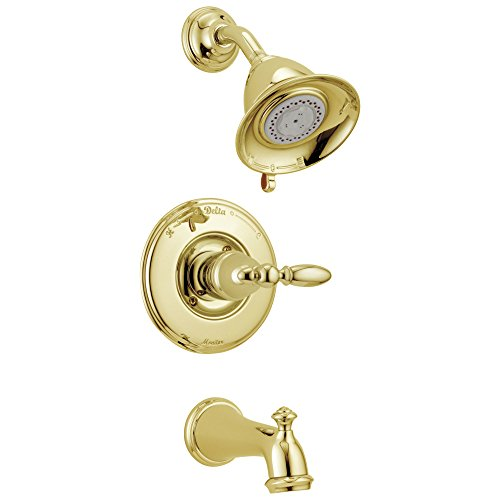 Delta Victorian Collection Polished Brass Finish Monitor 14 Tub & Shower Combo Faucet INCLUDES Single Lever Handle and Rough-Valve with Stops D1513V