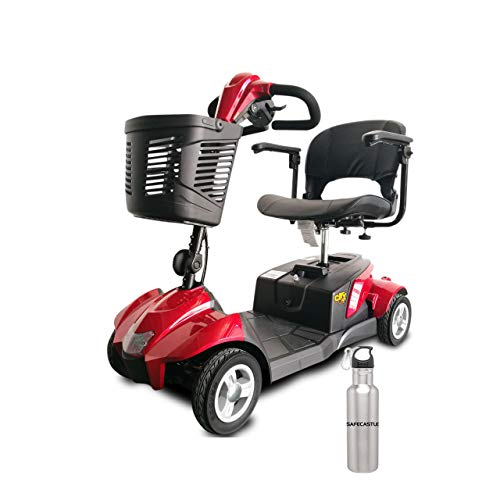 EZ Rider Mobility CityCruzer Portable Travel Mobility Scooter,4 Wheel with Tight Turning Radius,Swivel Seat and Delta Tiller Basket,Electric Mobility Scooter Bundled with Safecastle Water Bottle-Red ()