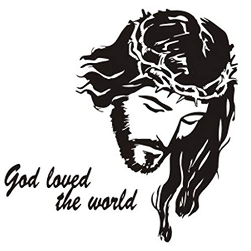 Basde Wall Stickers, Creative Avatar Christian Painting Jesus Portrait god Love World Emanuel Catholic Church Wall Decoration Sticker, for Bedroom Living Room at Home Office