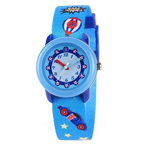 Venhoo Kids Watches Cute Cartoon Waterproof Fabric Strap Children Toddler Wrist Watch Time Teacher Birthday Gift 3-10 Year Girls Boys Little Child-Captain -