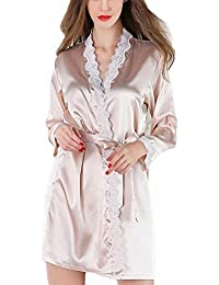 0cc0304f52 Women s Satin Silk Woman White Pink Robe Lace Bathrobe Robes Sleepwear  Ladies Sexy Robe