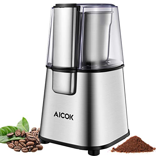 AICOK Coffee Grinder Electric Powerful Blade Coffee Bean & Spice Grinder with 2.5 Ounce Removable Cup, Stainless Steel Motor Base 200W for Most Efficient Grinding, 2-year Warranty