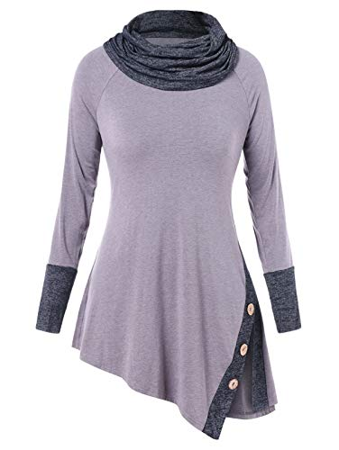 KCatsy Plus Size Cowl Neck Button Asymmetry Splice Detail T-Shirt (Rick Vintage Rack)