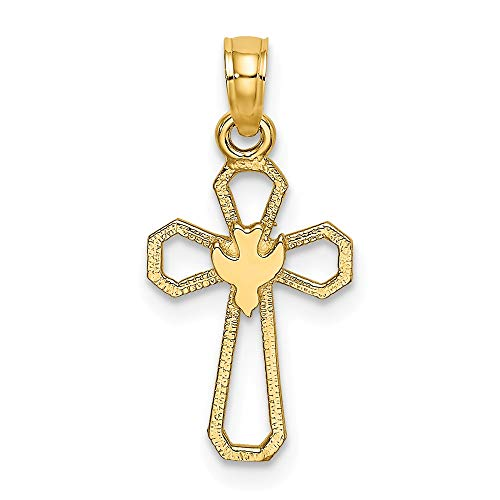 14k Yellow Gold Cut Out Cross Religious Dove Pendant Charm Necklace Fine Jewelry Gifts For Women For Her