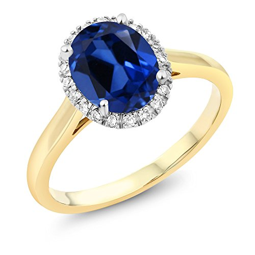 Gem Stone King 10K 2-Tone Gold Oval Simulated Sapphire and Diamond Halo Engagement Ring 2.30 Ct (Size 7) (2 Heart Sapphire Ring)