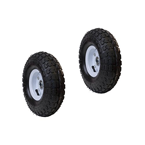 ALEKO 2WAP10 Pneumatic Replacement Wheel for Wheelbarrow Air Filled Turf Tire for Hand Trucks 10 Inches Black White Rim Lot of 2