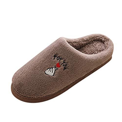 Midress Women's Mens Winter Warm Home Slippers Fashion Couples Non-slip Indoor Floor Slippers Closed Toe Flats Shoes