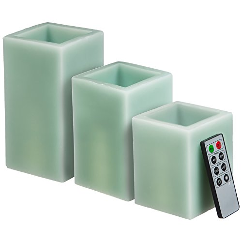 CEDAR HOME Battery Operated Flameless LED Wax Square Pillar Candle with Remote, Set of 3, Antique Teal by CEDAR HOME (Image #9)