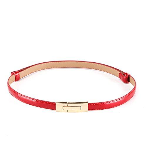 MoYoTo Womens Stylish Gold Sliver Skinny Thin Patent Leather Waist Belts (Red)