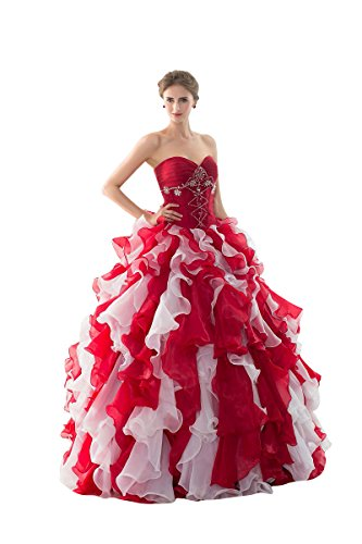 Beauté-emily Chérie Blanc Deux Pièces Robes De Mariée En Tulle Rouge En Couches