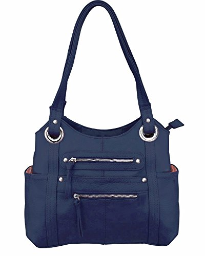 Leather Locking Concealment Purse - CCW Concealed Carry Gun Shoulder Bag, Blue