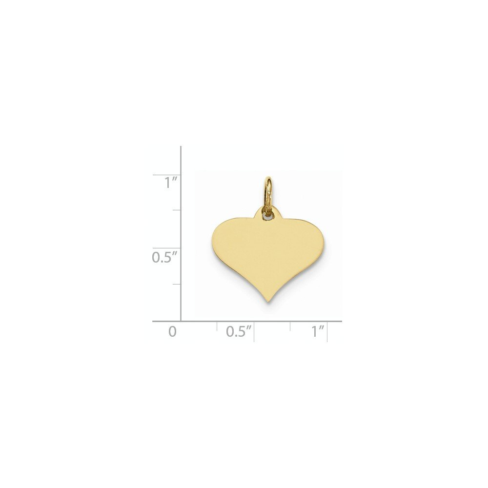 Mia Diamonds 10k Yellow Gold Plain .018 Gauge Engraveable Heart Disc Charm
