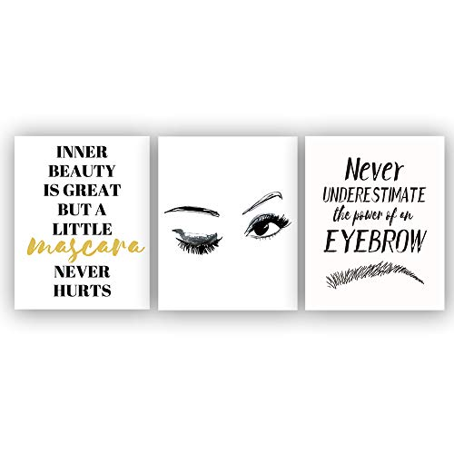 Fashion Women Art Print Set of 3 (8X10 Makeup Art, Beautiful Eye Lashes,Eyebrow and Inspirational Phrases Quote for Makeup Lovers Gifts, Canvas Wall Art Poster for Girls Room Decor, No Frame