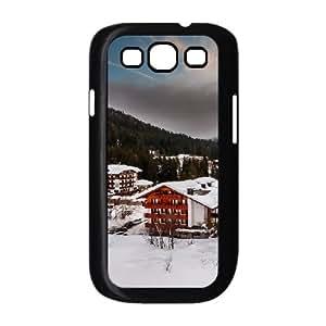 Italia Alps Winter Village Samsung Galaxy S3 Case, Samsung Galaxy S3 Cases for Teen Girls Girl Design Vinceryshop - Black