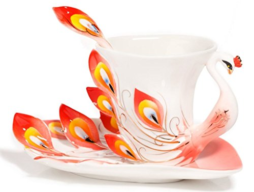 Vanki Hand Crafted Porcelain Enamel Graceful Peacock Tea Coffee Cup Set with Saucer and Spoon, Red