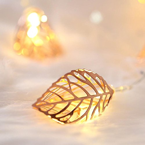3 meters 20 lights Rose gold leaves LED lights flashing lights lights iron lights for wedding holiday wedding leaves light (3M)