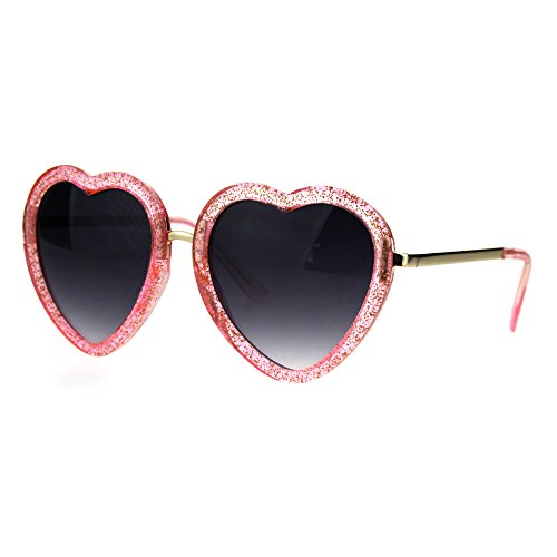 Womens Retro Valentine Love Glitter Plastic Heart Sunglasses -