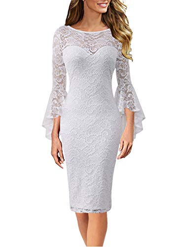 VFSHOW Womens Off-White Floral Lace Ruffle Bell Sleeve Slim Casual Cocktail Wedding Party Bodycon Pencil Sheath Dress 3371 WHT XXL