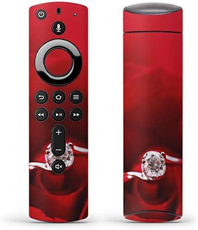 igsticker Fire TV Stick 第2世代 専用 リモコン用 全面 スキンシール フル 背面 側面 正面 ステッカー ケース 保護シール 005136 ラブリー 赤 指輪 薔薇