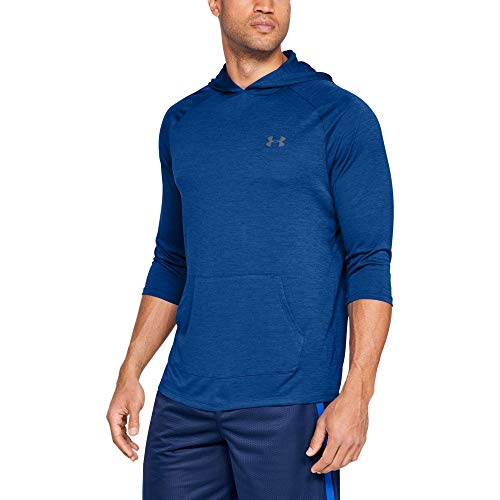 Under Armour Men's Tech 3/4 slv Hoodie, Royal (400)/Graphite, Large (3/4 Sleeve Hoodie)