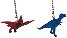 Dinosaur Ceiling Fan Pull Dino Themed Children Bedroom Decor (SET of TWO, Tyrannosaurus Rex & PTERODACTYL)
