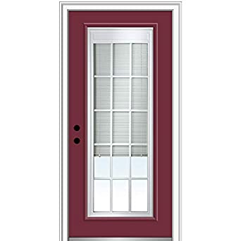 36 x 80 Prehung Door Right Hand In-swing Clear Low-E Glass with RLB and GBG Full Lite National Door Company Z007866R Steel Burgundy