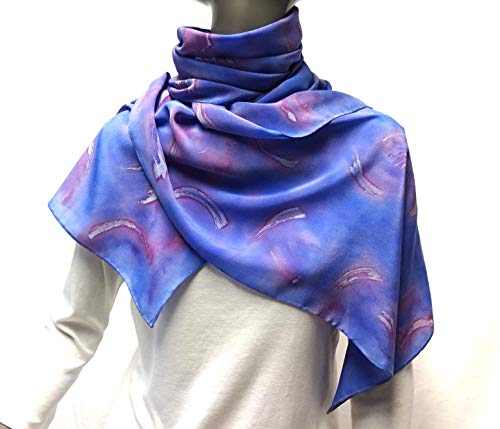 (Hand Painted Crepe Silk Scarf, Periwinkle Lavender Mauve Light Pink, Bluebell, Hand Hemmed, One of a Kind Signed Original by Jossiani)
