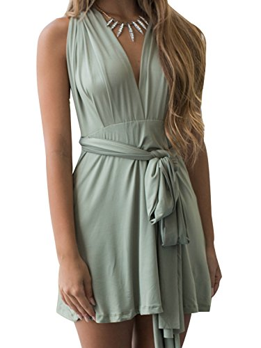 JEERISE Womens Short Convertible Wrap Multiway Bandage Bridesmaids Sexy Cocktail Flowy Mini Party Dress,Green,Small