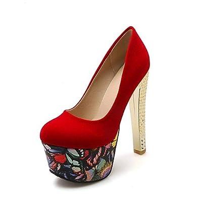 Ggx/femme Chaussures en microfibre/cuir verni Printemps/été/automne talons/Bout Rond Heelswedding/bureau & carrière