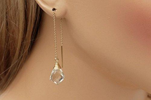 Green Amethyst Birthstone Wrapped Threader Earrings (Gold Amethyst Threader Earrings)