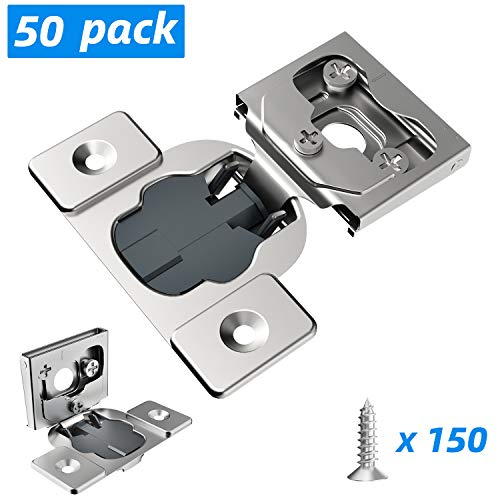 """Hosom 50pcs Soft Close Cabinet Hinges for Kitchen, 1/2"""" Overlay Hinge Nickel Plated, Face Frame Steel Hinges Hardware 105 Degree Adjustable with 6-Ways 3-Cam Mechanism 