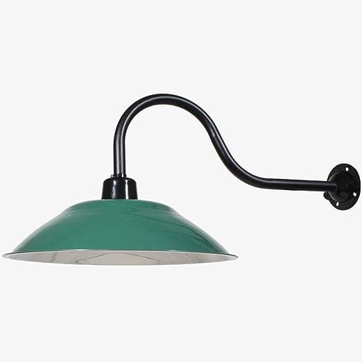 Lámpara de pared industrial E27 Vintage Negro Verde Metal Sombra Jardín Aplique Exterior Impermeable IP23 Luz de pared exterior para escaleras Pasillo Vestíbulo Pabellón Patio: Amazon.es: Iluminación