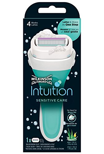 Wilkinson Sword Intuition Sensitive Care - Maquina de afeitar femenina con cuchilla de cuatro hojas y
