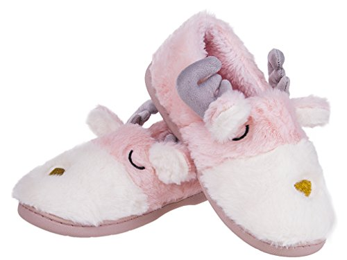 Mixin Dames Kerst Herten Indoor / Outdoor Winter Warm Houden Slippers Roze En Wit
