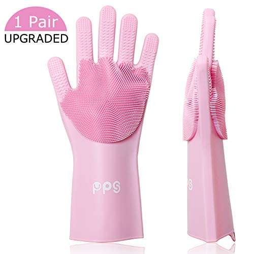 Magic Silicone Dishwashing Gloves, Pair of Rubber Scrubbing Gloves for Dishes, Wash Cleaning Gloves with Double Sided Sponge Scrubbers for Washing Kitchen, Bathroom, Car and Household (Pink)