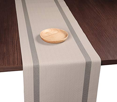 - PABUSIOR Woven Vinyl Table Runner for Wedding Washable, Dining Table Runners fit for Decorations Birthday Easy to Clean (Brown 12