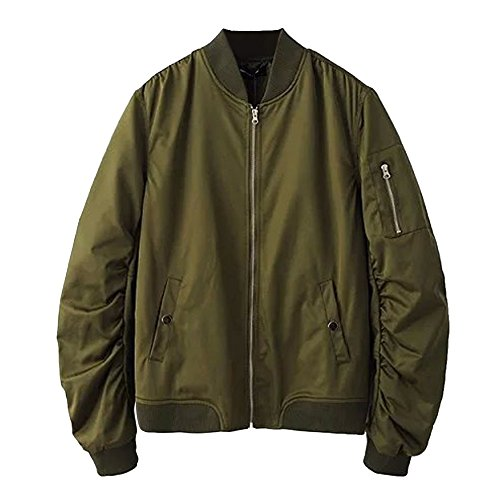 LETSQK Men's Ribbed Collar Solid Classic MA-1 Air Force Flight Bomber Jacket Green XL