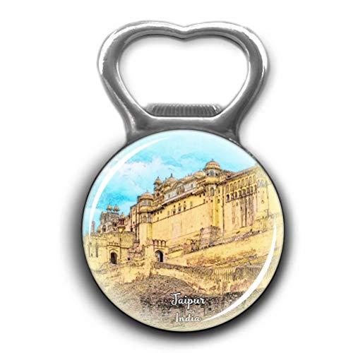 Amber Fort Jaipur India Opener Metal Fridge Magnet Crystal Glass Round Beer Bottle Opener City Souvenir Home Kitchen Decoration Gifts ()
