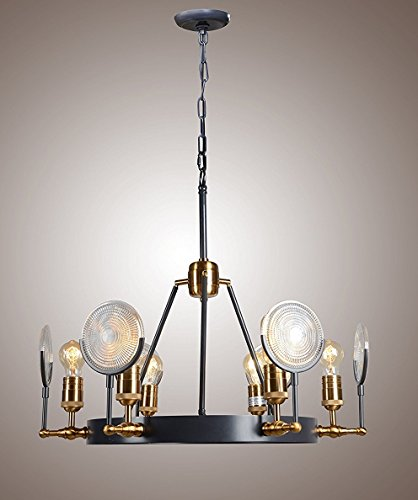 Restoration Industrial Gaslight Lens Chandelier Matte Black Finish Ceiling Light (Antique Table Iron Chandelier Forged)