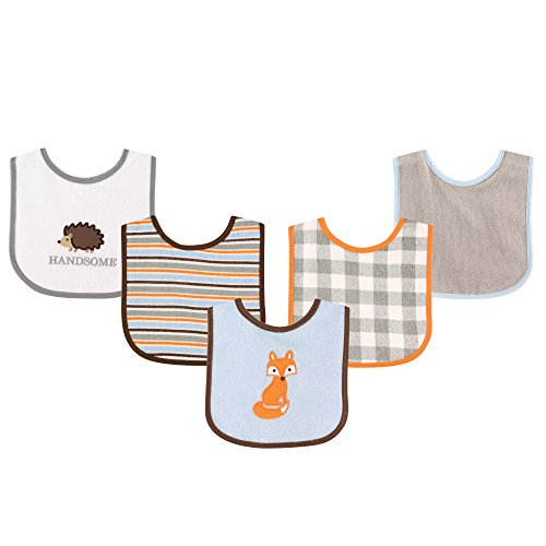 luvable-friends-5-piece-character-bib-with-waterproof-backing-blue-fox