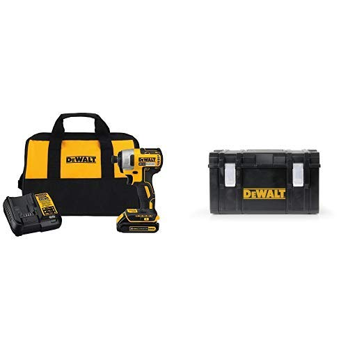 DEWALT DCF787C1 Cordless Impact Driver Kit (Includes Battery and Charger) with DWST08203H Tough System Case, Large