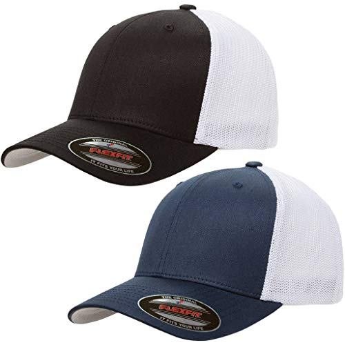 Flexfit Trucker Hat for Men and Women | Breathable Mesh, Stretch Flex Fit Ballcap w/Hat Liner 2 Pack (Black/White & Navy/White)