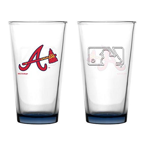 Atlanta Braves Glass - Atlanta Braves Embossed Pint Glass 16 oz. (2 pack)