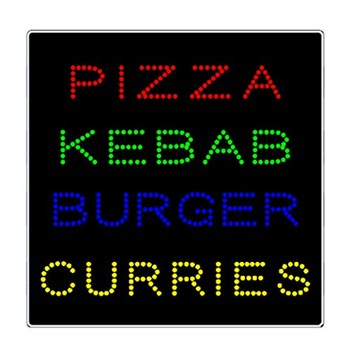 LED Pizza Kebab Burger Curries Grill Hibachi Open Light Sign Super Bright Electric Advertising Display Board for Restaurant Business Shop Store Window Bedroom (24 x 24 inches)