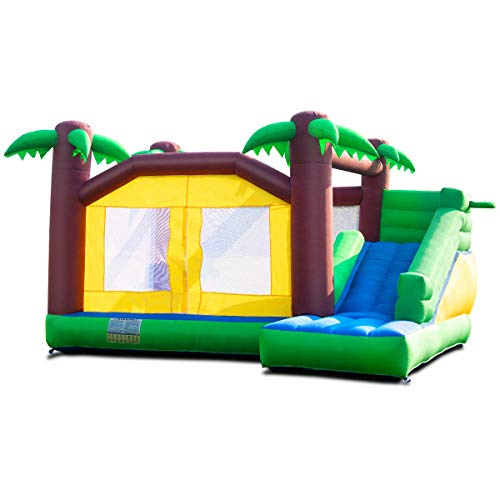 - Costzon Inflatable Bounce House, Jungle Jump and Slide Bouncer w/Large Jumping Area, Long Slide, Including Carry Bag, Repairing Kit, Stakes (Without Blower) Green